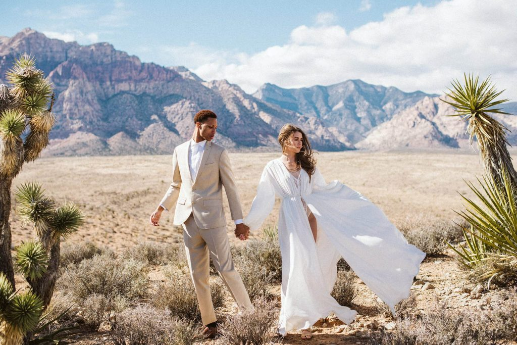 A wedding couple is holding hands and standing next to cactus plants and mountains.