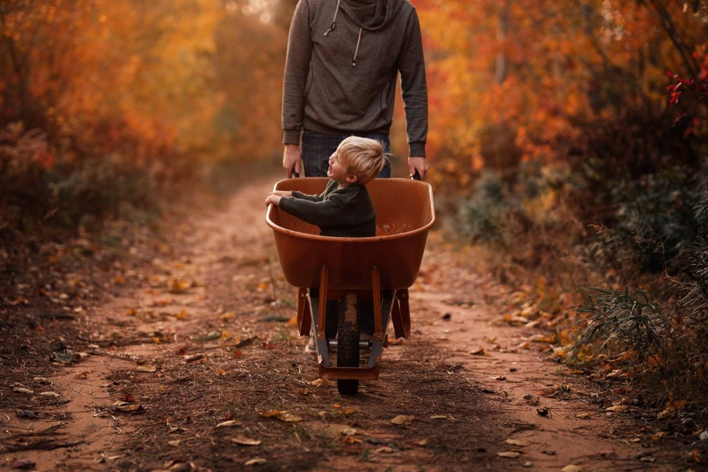 A child is sitting in a wheelbarrow, which the father is holding.