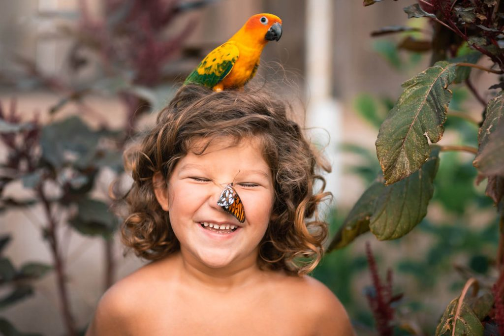 A parrot and a butterfly are sitting on a smiling child.
