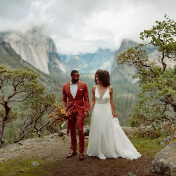 A wedding couple stands on a cliff in a National Park surrounded by trees and mountains.