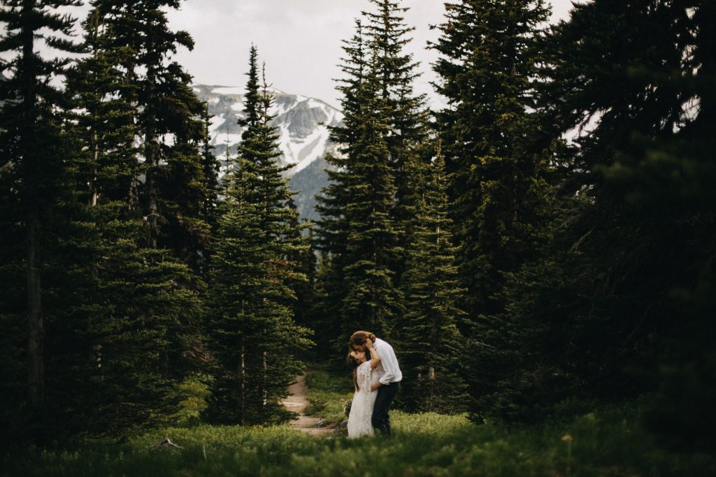 A wedding couple stands on a glade in the forest and kisses each other.