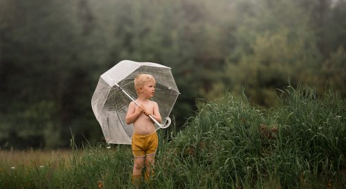 A little boy is standing in a meadow and holding an umbrella.